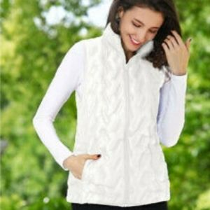 Tangerine ladies white puffer vest